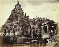 View from the south of the Adishvara Bhagarai Temple in the Vimalavasi Tuk, showing the shikara and roof, Satrunjaya